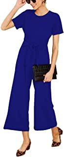 Qearal 2019 Women's Summer Casual Chiffon Short Sleeve Tie Waist Wide Leg Jumpsuits High Waisted Long Rompers