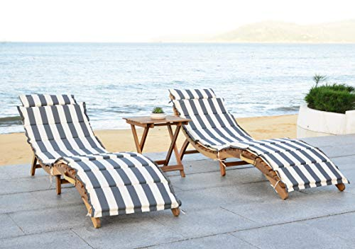 Safavieh Outdoor Collection Pacifica Natural and Grey 3-Piece Lounge Set