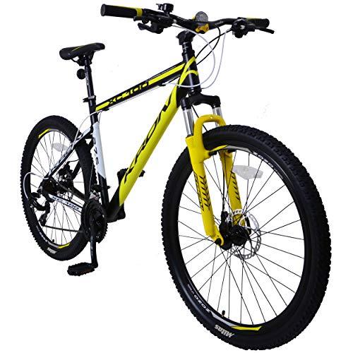 KRON XC-100 Hardtail Aluminium Mountainbike 26 Zoll, 21 Gang Shimano Kettenschaltung mit Scheibenbremse | 16 Zoll Rahmen MTB Erwachsenen- und Jugendfahrrad | Schwarz Gelb