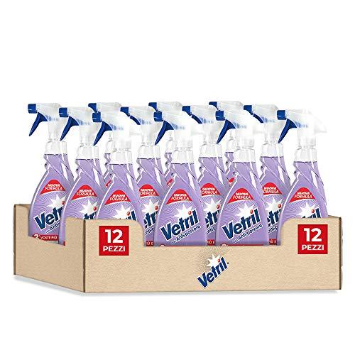 Vetril, Detergente Spray Vetri e Superfici con Antipolvere, Azione Antistatica e Brillantezza Senza Aloni, Ipoallergenico, 650 ml x 12 pezzi