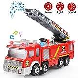 Camion de Pompier avec Lumières Sons et Fonction de Pulvérisation d'eau Maquette Camion Enfant Véhicule pour Plus de 3 Ans