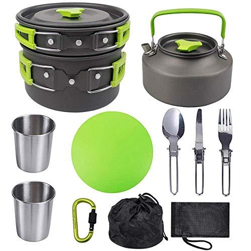 XHLLX Juego De Cocinar Al Aluminio Al Aire Libre, 2-3 Personas Tetera De Tetera con Vajilla, Taza, Tabla De Cortar, Cocinar Portátil Pote De Olla De Camping Picnic Barbacoa