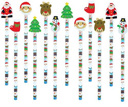 KINPARTY Lápices diseño Navidad con goma - Papa Noel, Elfo, Reno, Muñeco de Nieve - Calendario de Adviento