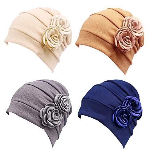 4 Piezas Turbantes para Mujer,Pañuelos Quimioterapia,Gorros Oncologicos para Mujer,Pañuelo Cabeza Mujer,Mujer Pelo Largo Verano Turbante para Mujer Cáncer Pérdida De Pelo Estilo Flor Sombreros