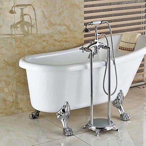 GOWE - Grifo de ducha independiente para bañera y ducha, acabado cromado con soporte de suelo para ducha de mano