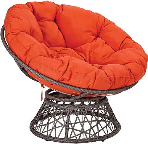 Zairmb Round Papasan Chair Cushion Removable Wicker Swing Chair Seat Cushion Soft Cotton Hanging Egg Chair Pads Outdoor Patio-130cm(51Inch) Orange