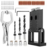 ODOMY 56Pcs Pocket Hole Screw Jig,15 Degree Adjustable Twin Dowel Drill Joinery Kit with 6' Face Clamp, 6/8/10mm Drive Adapter for Woodworking Angle Drilling Holes DIY Holes Carpentry Locator Craft