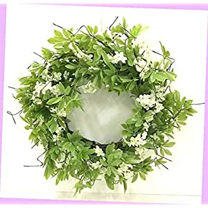 Artificial Foliage Ranunculus Berry Twig Wreath Silk Artificial 22″ Green, White Flowers Bouquet Realistic Flower Arrangements Craft Art Decor Plant for Party Home Wedding Decoration