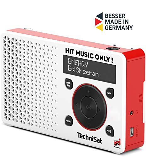 TechniSat Digitradio 1 Energy-Edition portables DAB Radio (klein, tragbar, mit Lautsprecher, DAB+, UKW, Favoritenspeicher, Direktwahltaste zu Energy, 1 Watt RMS) weiß/rot
