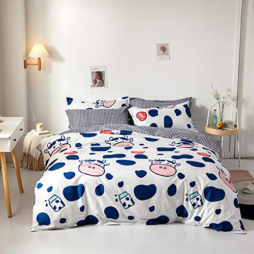 Children Cartoon Home Textiles Bedding Set Small Fresh Series Cute Cows Blue Duvet Cover Queen King Size Linen Comforter Set Double Single The Comfy for Girl Boy Adult,Twin