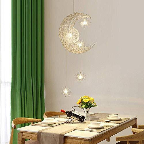 Berkalash Pendelleuchte, Deckenleuchte Mond und Sterne für Kinderzimmer, Wohnzimmer LED-Hängeleuchte HängelampeDekoration (Warmweiß)