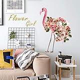 Pegatina Fotomurales Hermosas Aves Flamencas Con Flores Para Decoraciones Del Hogar Calcomanías De Arte Animal 50X70 cm