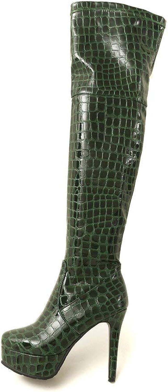 AnMengXinLing Sexy Over The Knee Boot Women Stiletto High Heel Platform Side Zipper Patent Leather Dress Winter Thigh High Long Boot
