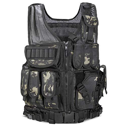YAKEDA Tactical Vest Outdoor Ultra-Light Breathable Combat Training Vest Adjustable for Adults 600D Encryption Polyester-VT-1063 (Black) (Black CP)