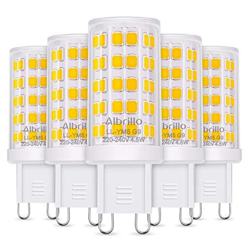 Albrillo 5er Pack 4.5W G9 LED Lampe 500 Lumen, Kein Flackern und 3000k warmweiß G9 LED Leuchtmittel Ersatz 50W G9 Halogenlampe, 360° Abstrahlwinkel, nicht dimmbar