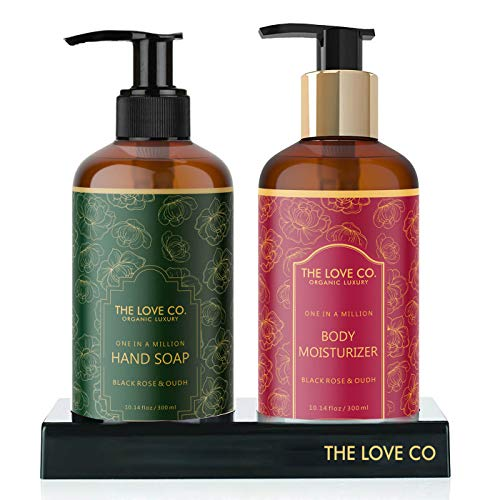 THE LOVE CO. Luxury Hand wash Best Gift Ultimate Set Pack For Men & Women, Black Rose & Oudh Hand wash/Body Lotion For Couples Gift Set in 2021