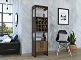 Tuhome Furniture Magnum Home Bar and Wine Cabinet in Weathered Oak and Gunmetal...