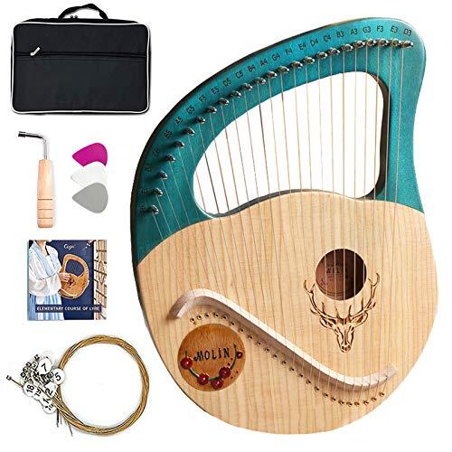 Lyre Harp, 21 cuerdas/instrumento de arpa de madera de caoba de 24 cuerdas con estuche/ajuste de la llave de ajuste/de la cadena de repuesto/del manual de instrucciones de inglés, para princip