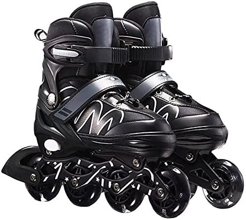 Herren Damen verstellbare Inliner Inlineskates,Größe 26-42 Unisex Fitness Skates für Erwachsene Rädern Rollschuhe für Jungen Mädchen Anfänger-schwarz_L(38-42)