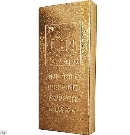 1 Kilo Copper Bar Bullion Paperweight - 999 Pure Chemistry Element Design