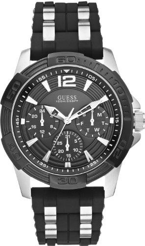 GUESS zilveren herenhoes en zwart siliconen horloge