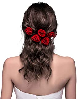 ClassicBeauty Elegant Red Rose Bridal Hair Clips (Set of 4) New 2018 Wedding Women and Girls Hair Accessories Bridesmaids Headpiece