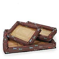 ペットマット ペット犬クールな夏の寝ているベッドマット美しいプリント犬の猫のための快適なベッド (Color : Brown, Size : XXL)