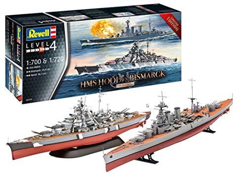 Revell-Geschenkset HMS Hood vs. Bismarck, Jubiläumsset, Schiffmodell 1:700 & 1:720 Kit de Modelo de plástico, Color sin Pintar (05174)