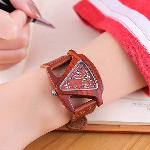 Relojes Reloj de Madera Triángulo de bambú Colorido Reloj de Madera para Mujer Reloj de Madera para Mujer Reloj de Cuarzo para Mujer y Hombre, Relojes