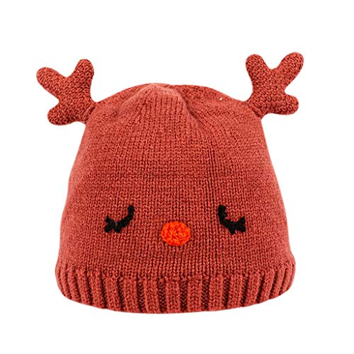 Baby Unisex Red Nose Reindeer Hat Cotton Lining Warm Knitted Hat For Toddler Boys Girls Ski cap (Color : Brick red, Size : 0-12 months)