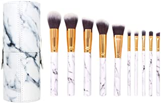 10 Pieces Makeup Brushes Set Foundation Eyebrow Eyeliner Blush Cosmetic Tools - Marble pattern