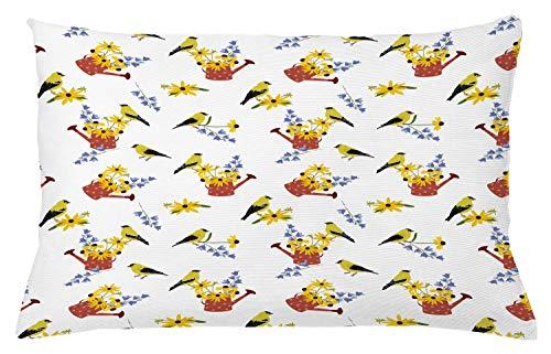 ABAKUHAUS Bloemen Sierkussensloop, Gieters met Vogels, Decoratieve Vierkante Hoes voor Accent Kussen, 65 cm x 40 cm, Veelkleurig