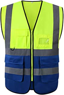Extaum High Visibility Safety Vest With Pockets Reflective Strips Zipper Security Working Clothes Safety Waistcoat
