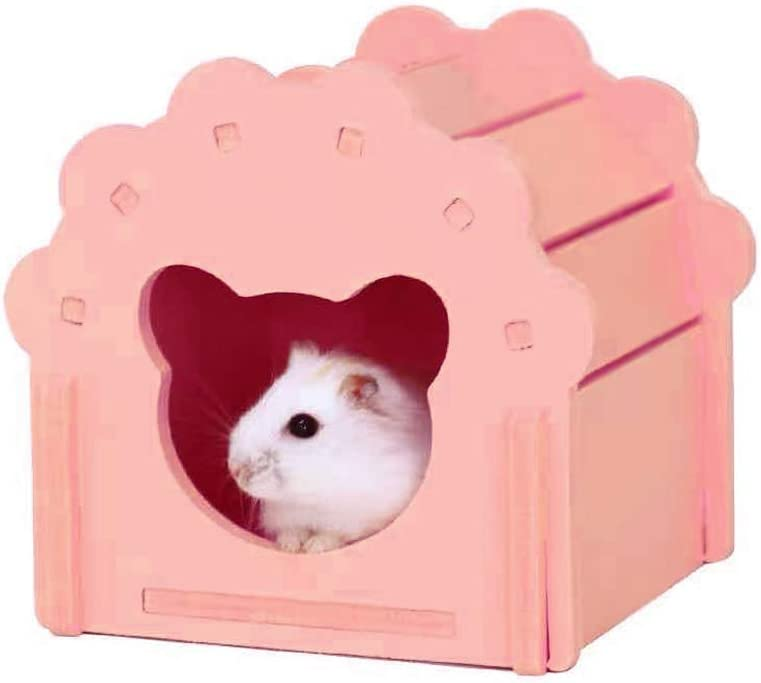 Petzilla Hamster Wooden House as Bedding Dining Room Sand Bath Hideout Hideaway for Dwarf Robo Syrian Gerbils Teddy Bear Mice, Made of Safe Balsa Wood Blue