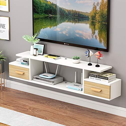 Meubel, zwevende tv-console, tv-kast, wandmontage-onderdelendrager, tv-box, kabelbox, kleine platte wandkast, lengte 120 cm/140 cm