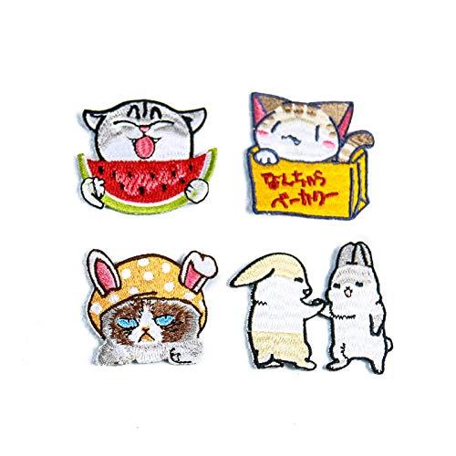 Patch Sticker,Parche termoadhesivo,Aplique de bordado adecuado para sombreros, chaquetas, abrigos, camisetas, lindo gato 5 piezas