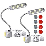Flymmy Sewing Machine Light LED Sewing Lighting (30LEDs) for Workbench Lathe Drill Press 2 Pack Flexible Gooseneck Arm Work Lamp with Magnetic Base 2Pcs Mounting Dics + 4 Pcs 3M Sticker