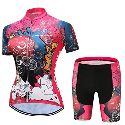 Colorful Women's Cycling Jersey Set, Breathable Quick-drying Short Sleeve Cycle Jacket + 3D Cushion Padded Tight Shorts (Color : G, Size : XXX-Large)