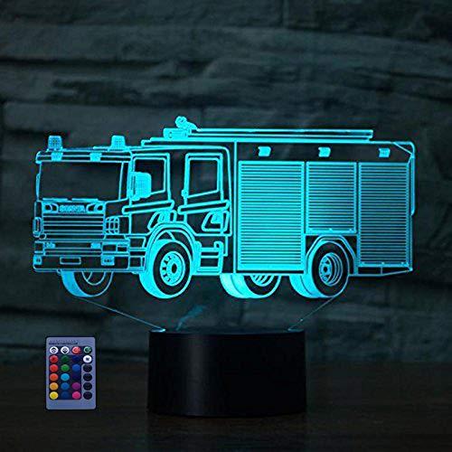 HPBN8 Ltd 3D Feuerwehr Auto Optical Illusions LED Lampen 7/16 Farbwechsel Fernbedienung Berühren Schreibtisch-Nacht Licht Mit USB-Kabel für Kinder Schlafzimmer Geburtstagsgeschenke Geschenk