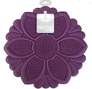 Talisman Designs No-Slip Grip Hot Pad, Purple, Pot Holder, Spoon Rest, Jar Opener and Trivet, BPA-free Silicone
