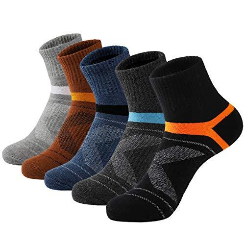 Nanxson 5 Paar Herren Sneaker Socken Kurze Sportsocken Laufsocken Baumwolle Kompression Socke Atmungsaktiv (39-45, Mehrfarbig-40)