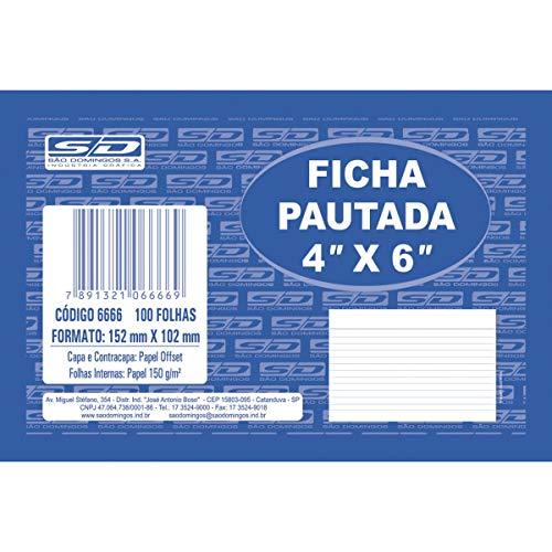 Ficha Pautada 4x6 10, 0x15, 0cm São Domingos, Multicor, pacote de 100