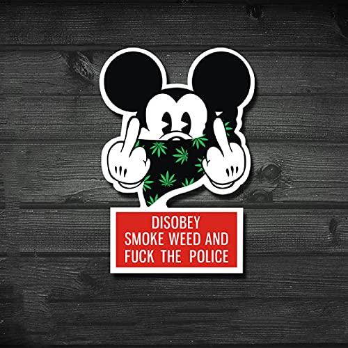 LZWNB Pegatinas de moda para cuaderno gángster estilo hip-hop broma dibujos animados Mickey Mouse desprecia calcomanías maleta casco 2 piezas