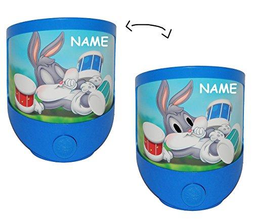 alles-meine.de GmbH 1 STK. Nachtlicht  Baby Looney Tunes  incl. Namen / magisches Licht LED Schlummerlicht mit Schalter - Nachtlampe ohne Strom Lampe für Kinder mit Batterie - ..