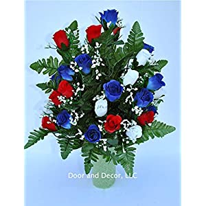 Patriotic cemetery flowers~red and white rose cone~vase filler arrangement~cemetery flower service~grave site decor~sympathy flowers~flowers for graves