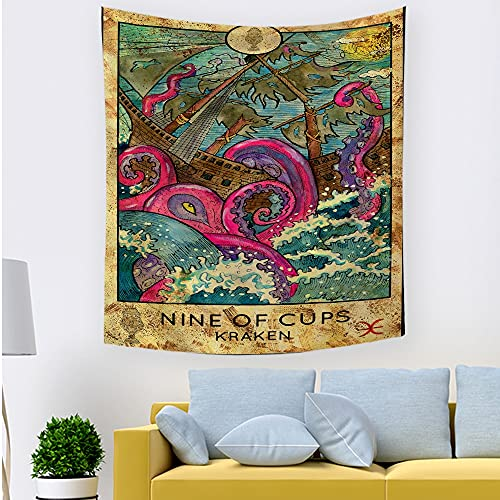 Tarot card mermaid tapestry, queen women's tapestry hippie wall hanging tapestry wall cloth blanket hanging cloth A3 180x200cm