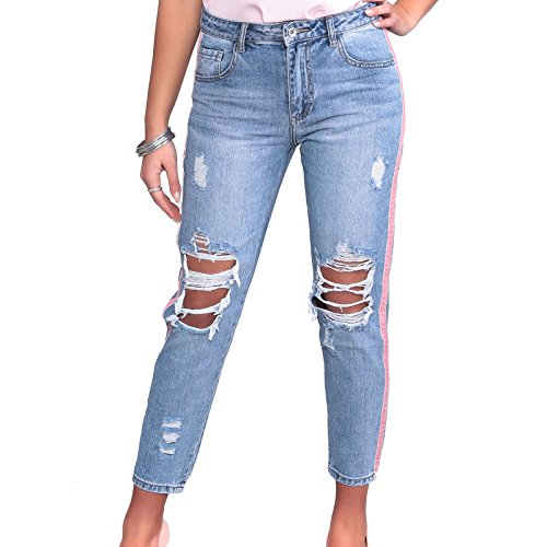 MForshop Jeans Donna Pantaloni Denim Boyfriend Strappi Strappati Strisce Righe Lato h7133 - Jeans, L