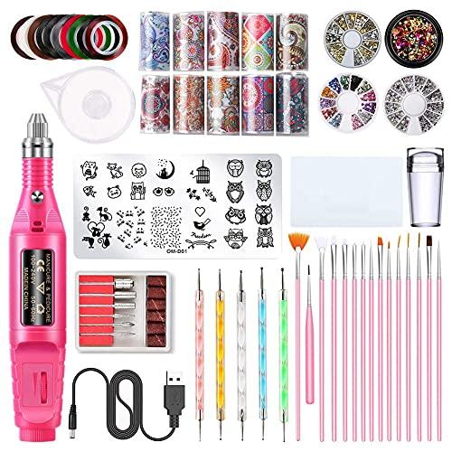 Jules Nail Art Tools Dekoration Kit, 3D Nail Art Supplies beinhaltet Nagelbohrer, Nagelfalle, Zottetwerkzeuge, Nagelsteine, Nagelkunst Pinsel Acryl Nägel Natürliche Verlängerung Gel...