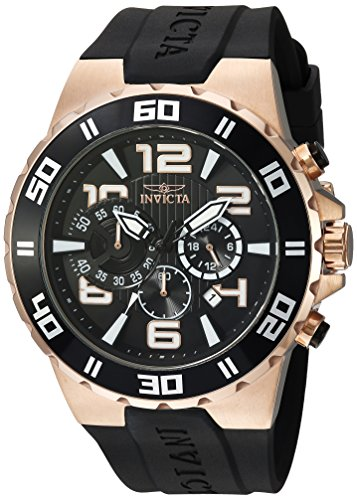 Invicta Men's Pro Diver Stainless Steel Quartz Watch with Polyurethane Strap, Black, 28 (Model: 24672)