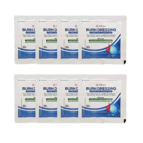 8 Pack - Burn Gel Dressing 4' X 4' Burn Care First Aid Treatment with Aloe Vera and Lidocaine for Pain Relief
